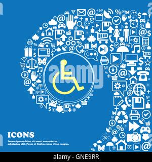 disabled sign symbol. Nice set of beautiful icons twisted spiral into the center of one large icon. Vector - Stock Photo