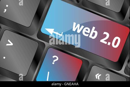 web 2 0 rss or blog concept with internet computer key on keyboard . keyboard keys. vector illustration - Stock Photo