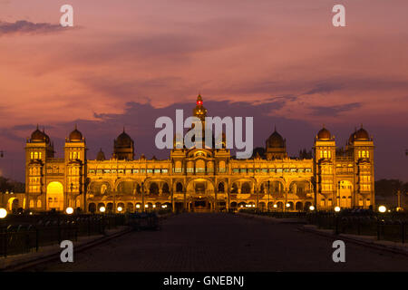 Mysore Palace, one of the most famous tourist attractions in India. Mysore is commonly described as the City of - Stock Photo
