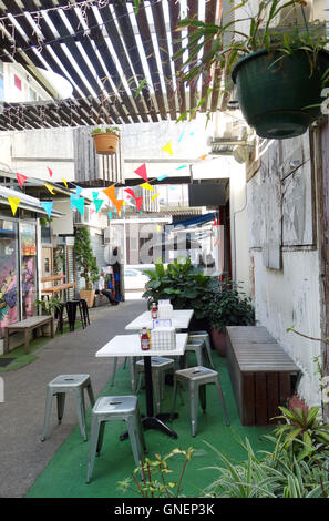 Cafe chairs and tables in Winn Lane, Fortitude Valley, Brisbane, Queensland, Australia. No PR - Stock Photo