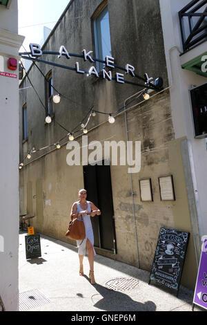 Woman in Bakery Lane, Fortitude Valley, Brisbane, Queensland, Australia. No MR or PR - Stock Photo