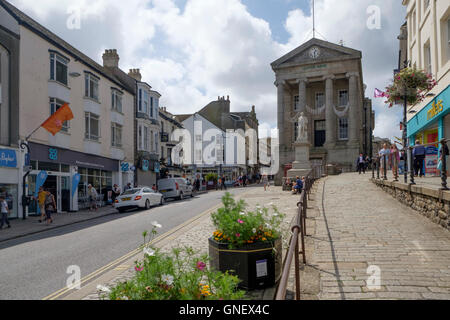 Penzance a town in West Cornwall England UK  Humphrey Davey  Market Jew Street - Stock Photo