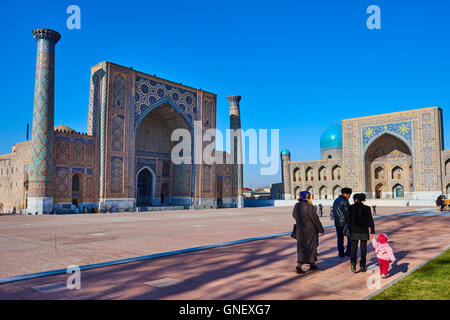 Uzbekistan, Samarkand, Unesco World Heritage, the Reghistan, Ulug Bek and Tilla Kari Madrasah - Stock Photo