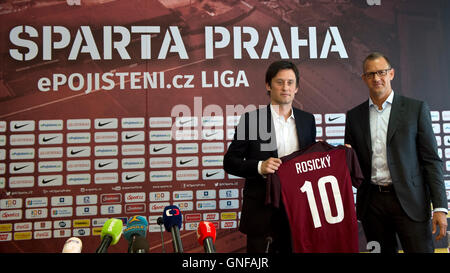 Prague, Czech Republic. 30th Aug, 2016. The captain of the Czech national football team, Tomas Rosicky (left), 35, - Stock Photo