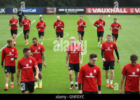 The Wales Football Squad, train ahead of their World cup qualifying games against Moldova - Stock Photo