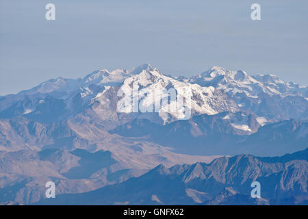 Cordillera Real with Huayna Potosi, view from the summit of Illimani, Bolivia - Stock Photo