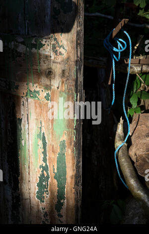 peeling paint on old wood door, old, background, wall, board, rough, brown, grain, decor, surface, dirty, tiled, - Stock Photo