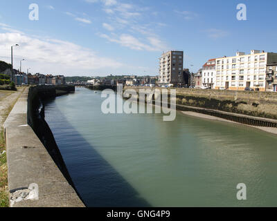 Entrance to inner harbour from Quai de la Marne, Dieppe, France - Stock Photo
