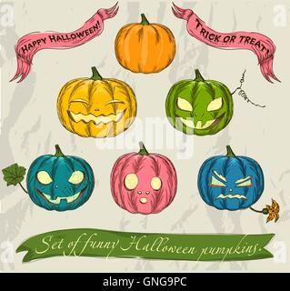 Halloween pumpkins set. - Stock Photo