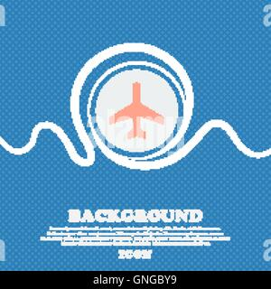 airplane sign icon. Blue and white abstract background flecked with space for text and your design. Vector