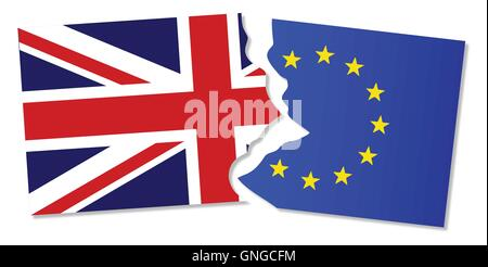 EU and Great Britain Flags - Stock Photo