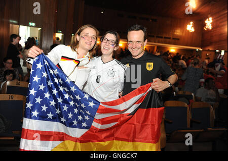 FIFA World Cup 2014: Fans at the public viewing in Munich, 2014 - Stock Photo