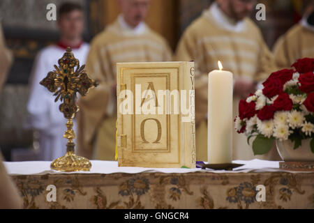 Reinhard Cardinal Marx ordains Frater Stefan Geiger to the priesthood, Missal with Alpha and Omega - Stock Photo