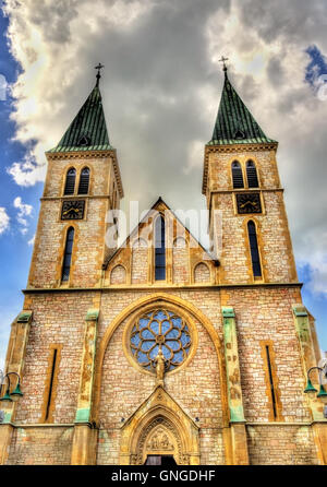 The Sacred Heart Cathedral in Sarajevo - Bosnia and Herzegovina - Stock Photo