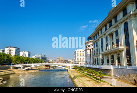 The Vardar river near Ministry of Foreign Affairs in Skopje - Stock Photo