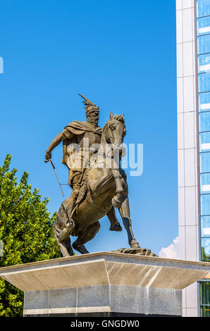 Statue of George Kastriot in Pristina - Kosovo - Stock Photo