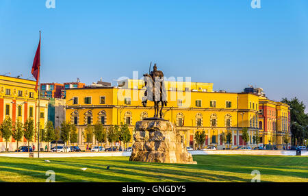 Skanderbeg Square with his statue in Tirana - Albania - Stock Photo