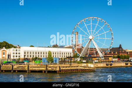 Observation wheel at embankment of Helsinki - Finland - Stock Photo