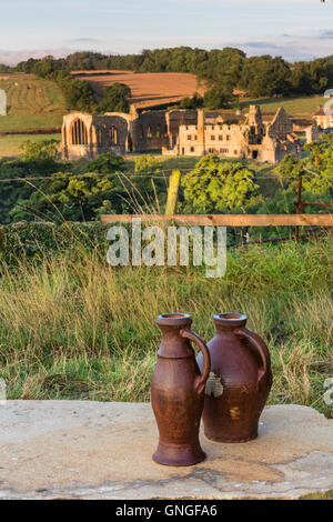Egglestone Abbey near Barnard Castle and Two Cast Iron Viewmarkers Created to Replicate Medieval Water Jugs - Stock Photo