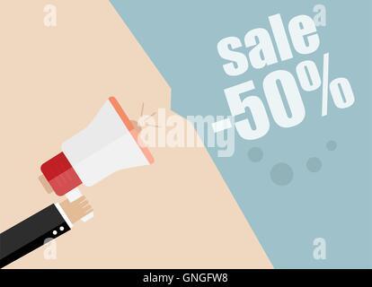 Sale promotion concept, hand holding megaphone, vector illustration - Stock Photo