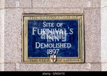 Blue plaque showing the former site of Furnival's Inn, demolished 1897. London, UK - Stock Photo