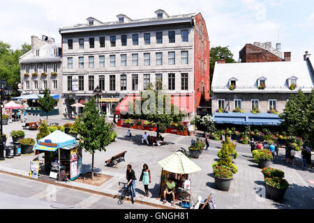 The Nelson hotel on Place Jacques Cartier in Old Montreal, Quebec, Canada - Stock Photo