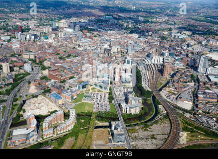Leeds City Centre from the air, featuring the business district, West Yorkshire, Northern England, UK - Stock Photo
