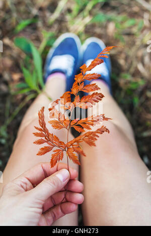 Close-up of woman holding autumn leaf, bali, Indonesia - Stock Photo