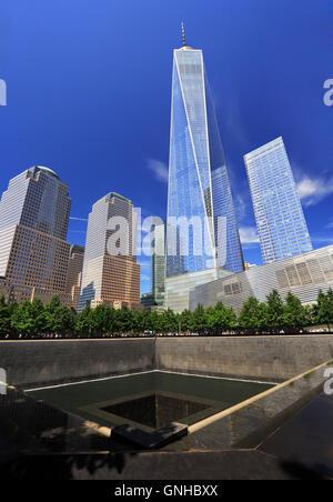 WTC Memorial Plaza, National September 11 Memorial, Manhattan, New York, United States of America - Stock Photo