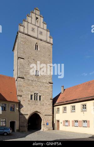 Rothenburg Gate, old town, Dinkelsbuehl, Central Franconia, Bavaria, Germany - Stock Photo