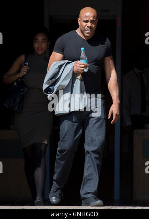 Michael Coombs, also known as rapper Mike GLC appears at Wood Green Crown Court, London, where he is charged with - Stock Photo