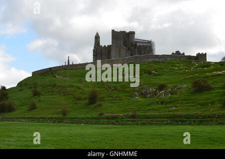 Lush green fields in front of the Rock of Cashel. - Stock Photo