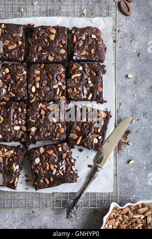 Dark Chocolate and Almond Butter Brownies with Sea Salt is photographed from the top view. - Stock Photo