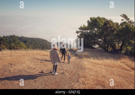 Mother hiking with four children, Tamalpais Valley, California, America, USA - Stock Photo