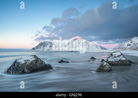 Sunset at Skagsanden beach, Lofoten Islands, Norway - Stock Photo