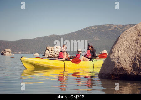 Mother kayaking with son and daughter, Lake Tahoe, California, United States - Stock Photo