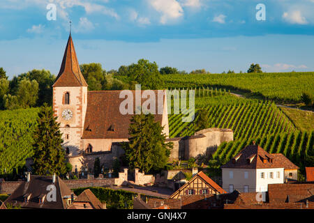 View over town of Hunawihr along the wine route, Alsace Haut-Rhin, France - Stock Photo