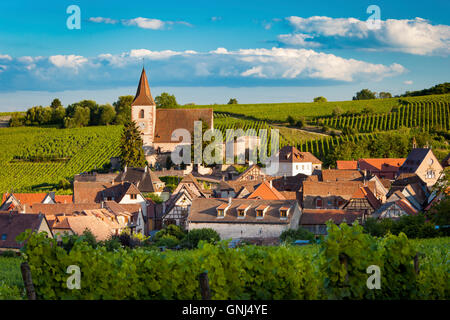 View over town of Hunawihr along the wine route, Alsace, Haut-Rhin, France - Stock Photo
