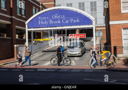 The entrance to The Oracle Holy Brook car park in Reading, Berkshire. - Stock Photo