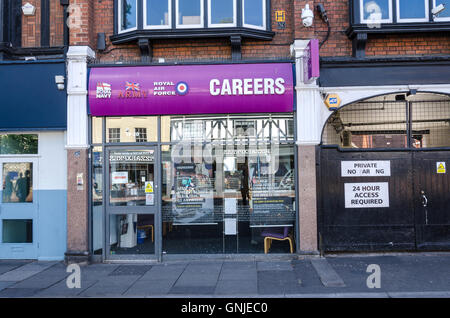 The Army, Navy and Royal Air Force recruitment office on St Mary's Butts in Reading, Berkshire. - Stock Photo