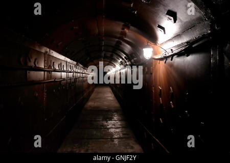 Underground tunnel at the Tagansky Protected Command Point, also known as bunker-42 a once-secret military complex, - Stock Photo