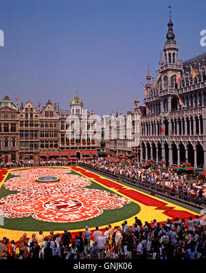 Flower Carpet in the Grand Place, Brussels, Belgium - Stock Photo