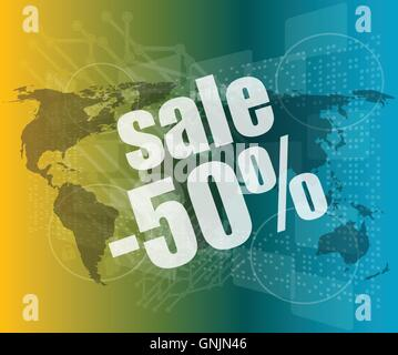 set of sale percentage words on business digital touch screenvector quotation marks with thin line speech bubble. - Stock Photo
