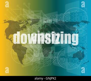 Business concept: words Downsizing on digital background vector quotation marks with thin line speech bubble. concept - Stock Photo