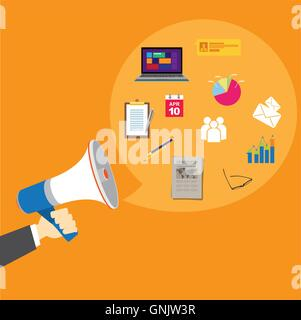 pr public relations with megaphone - Stock Photo