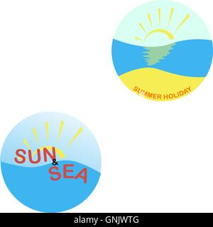 summer logo on a white background - Stock Photo