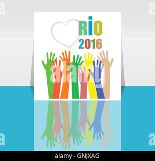 Sign symbol Rio olympics games 2016 in colors of the Brazilian flag. Brazil Carnival. Vector illustration - Stock Photo
