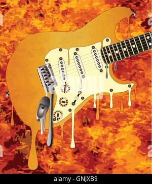 Flames Melting Guitar - Stock Photo
