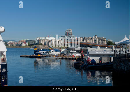 Float plane base at Victoria's inner harbour, Victoria, British Columbia, Canada. - Stock Photo