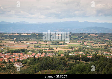 View over the impressive landscape in Tuscany near San Miniato in Italy - Stock Photo